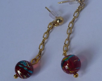 Red and Gold Chain Earrings