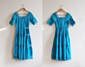 1970s vintage turquoise coloured mexican dress