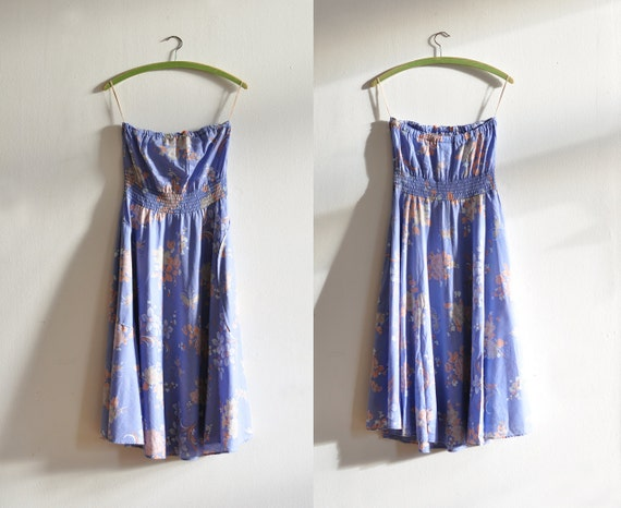 Vintage cornflower blue strapless dress
