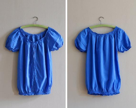 Vintage bright blue peasant blouse