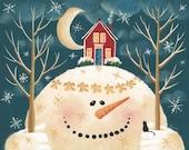 Snow Hill 2 Folk Art Print