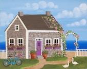 Nantucket Cottage Folk Art Print