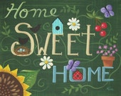 Home Sweet Home Abstract Floral Folk Art Print