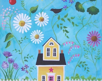 Happy Summer Folk Art Print