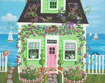 Clematis Cottage Folk Art Print