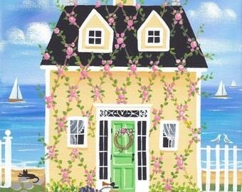 Rose Vines Cottage Folk Art Print