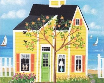 Peach Tree Lane Cottage Folk Art Print