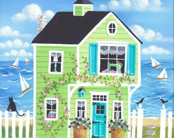 Bobbin Bay Cottage Folk Art Print