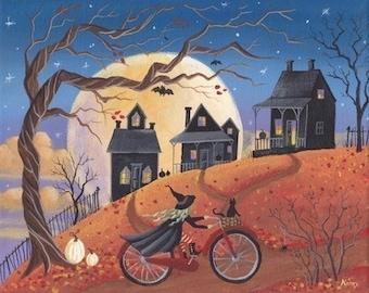 Haunted Hill Halloween Folk Art 10 x 8 Print