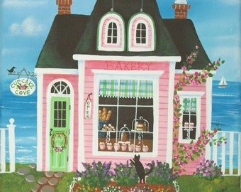 Cupcake Cove Bakery Folk Art Print