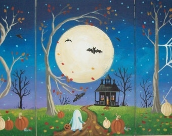 Boo Set of 3 Halloween Folk Art 7 x 5  Prints