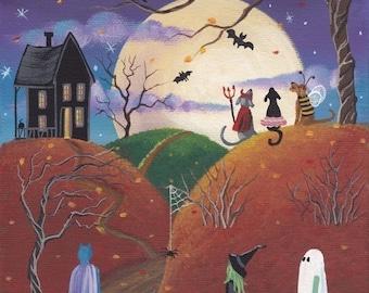 HAPPY HOWLoWEEN Folk Art 10 x 8 Print