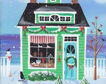 Christmas Cookies Cottage Folk Art Print