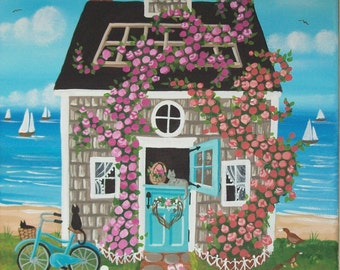 Nantucket Rose Cottage Folk Art Print