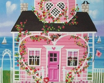 Valentine Cottage Folk Art Print