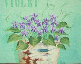 Sweet Violets Folk Art Print