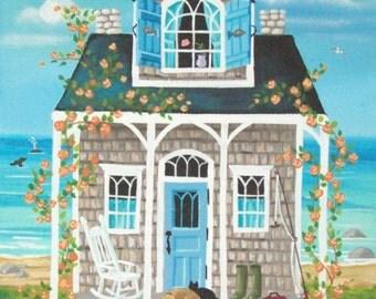 Fish Tales Cottage Original  Folk Art Print