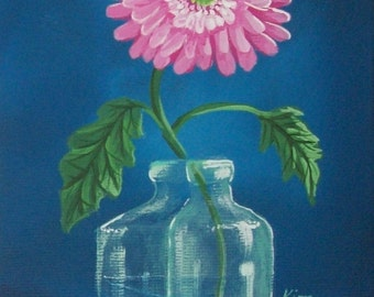 Pink Gerber Daisy Original Folk Art Print