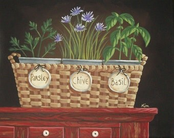 Kitchen Garden Herbs Basket Still Life Folk Art Print