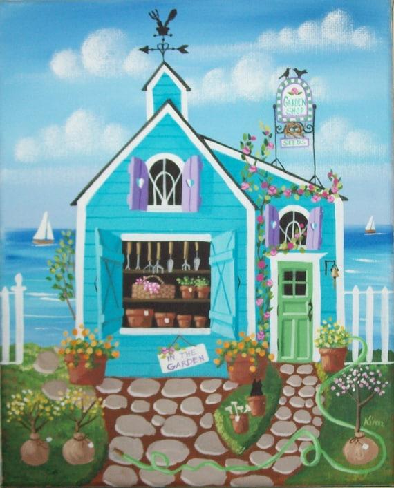 Boutique jardin Folk Art Print