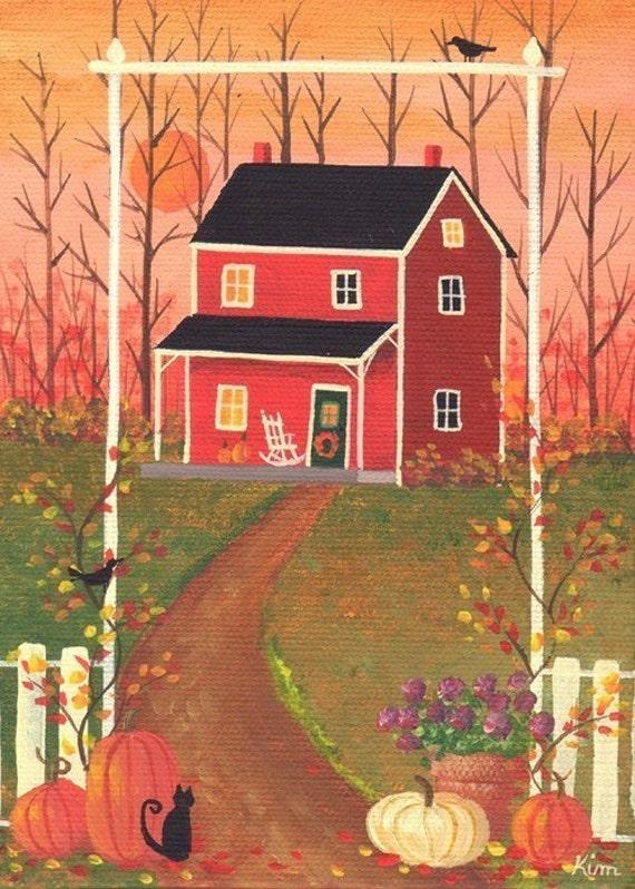 Bienvenue l'automne Cottage Folk Art Print