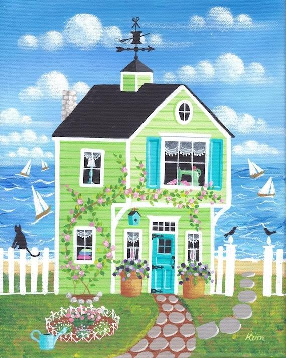Canette Bay Cottage Folk Art Print