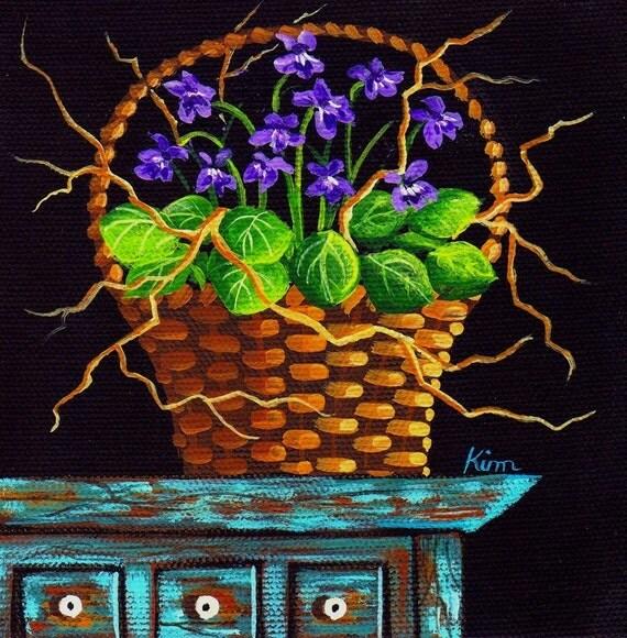 Violets and Twigs Folk Art Print