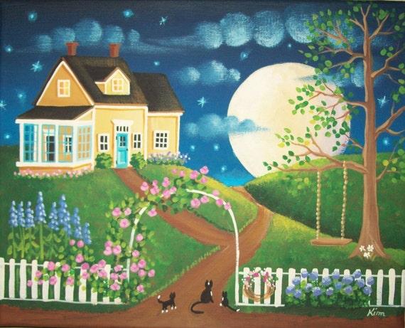 June Moon Folk Art Print