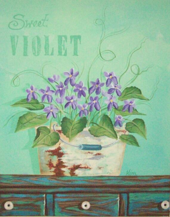Sweet Violets ORIGINAL Folk Art Painting FREE Shipping