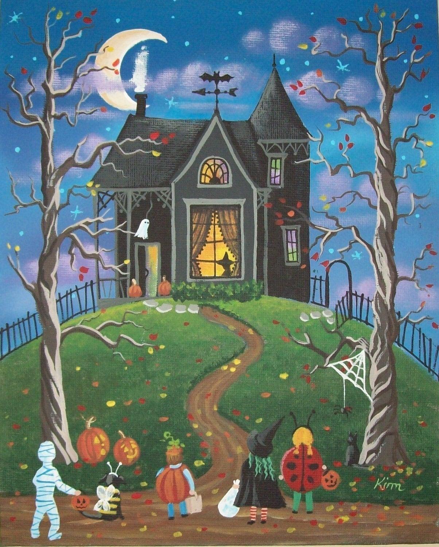 Who Goes First Halloween Folk Art 10 x 8 Print by ...