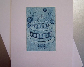 Birthday Cake (Original Hand Pulled Collagraph Mini Print Card)