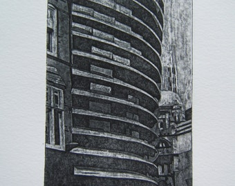 Curve, Leicester (Original Collagraph Hand Pulled Artist Print)