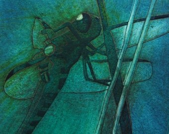Dragon Fly I (Original Collagraph Hand Pulled Artist Print)