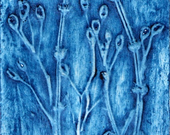Seed Heads In Blue (Original Collagraph Hand Pulled Artist Print)