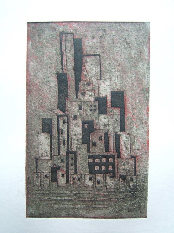 Small Island City (Original Collagraph Hand Pulled Artist Print)
