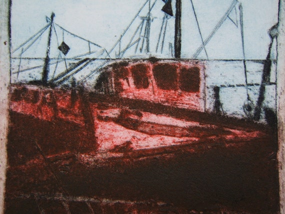 Beached Boat (Original Collagraph Hand Pulled Artist Print)
