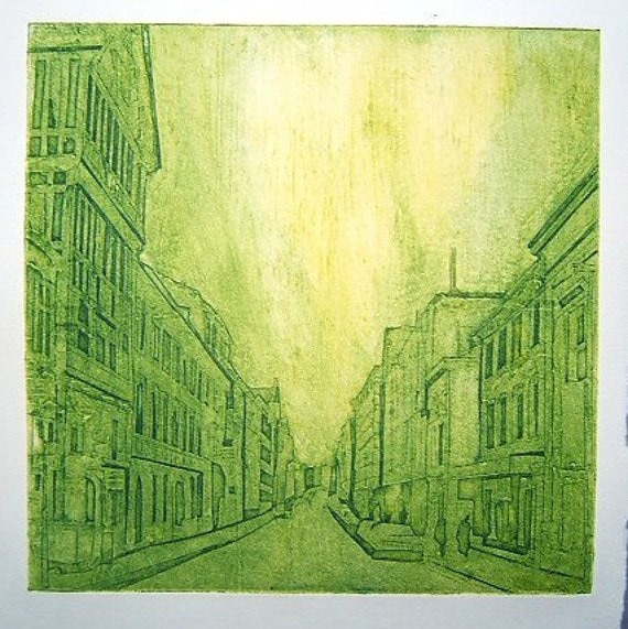 Town (Original Hand Pulled Collagraph Artists Print)