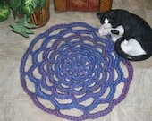 Handmade Crochet  Area Rug  Round  Purple and Blue  Ready to Ship  Free Ship in USA
