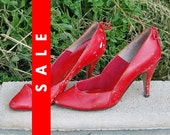Vtg 80s Red Punk Rocker Secretary Pumps Killed 7AA N