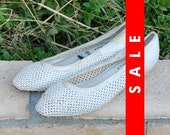 Vtg 80s White Punk Net Point Killed Summer Shoes 7 1/2