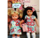 "Classic Button Short Sleeve Dress for Dolls PDF Sewing Dress Pattern for American Girl and Bitty Baby 15"" 18"" dolls"