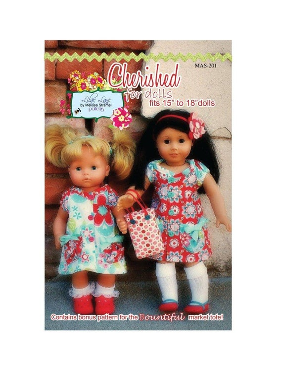 """Classic Button Short Sleeve Dress for Dolls PDF Sewing Dress Pattern for American Girl and Bitty Baby 15"""" 18"""" dolls"""