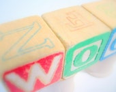 Woot - A Word Made of Vintage Toy Blocks