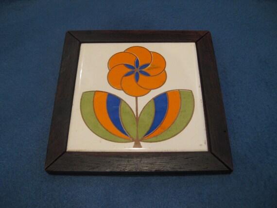 Vintage, 1970s, Wood and Tile Flower Trivet