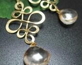 Golden Champagne Mystic Quartz Briolettes and Golden Arabesque on 22kt Gold Vermeil Ear wires - Earrings