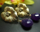 Golden Leaf with Deep Purple Chalcedony Briolette and Crystal - Post Earrings