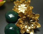 Golden Chrysanthemum with Large Green Onyx Briolette - Post Earrings
