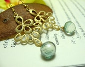 Mystic Green Quartz Briolettes and Golden Angelic Wings on 22KT Gold Vermeil - Earrings