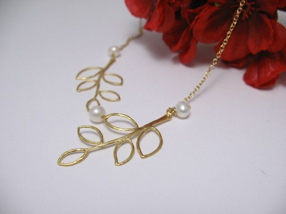 HaRu- Golden Leaves and Freshwater Pearls on 14KT Gold Filled Chain -  Necklace