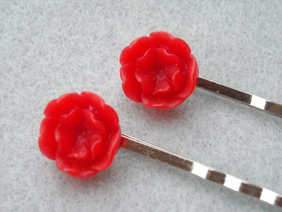 Flower Bobby Pins - Red Posies